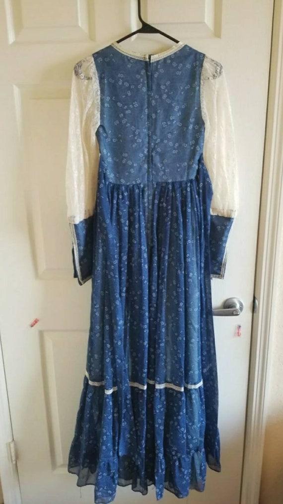 Vintage Gunne Sax blue prairie dress size 5 cotta… - image 3