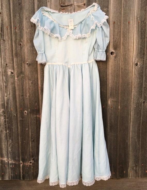 Rare size 15 dress light blue Gunne Sax cottageco… - image 1