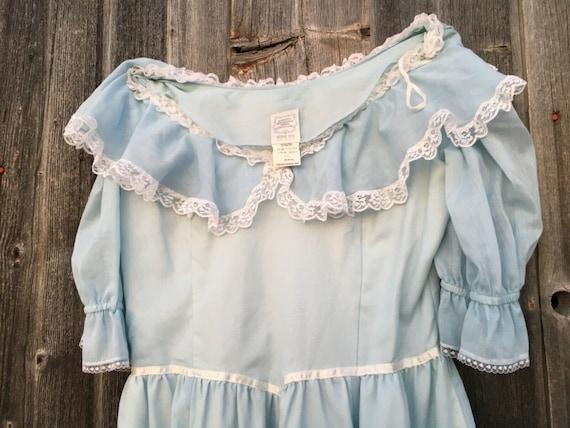 Rare size 15 dress light blue Gunne Sax cottageco… - image 4