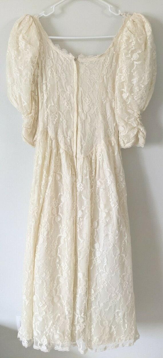 Vintage Gunne Sax white lace dress cottagecore - image 6
