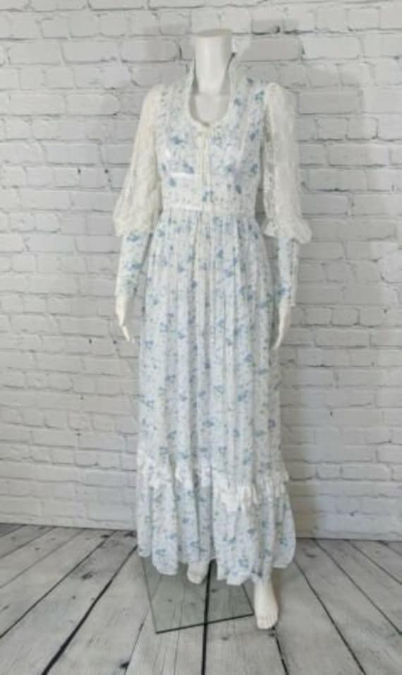 Vintage Gunne Sax blue prairie dress size 9 cottag