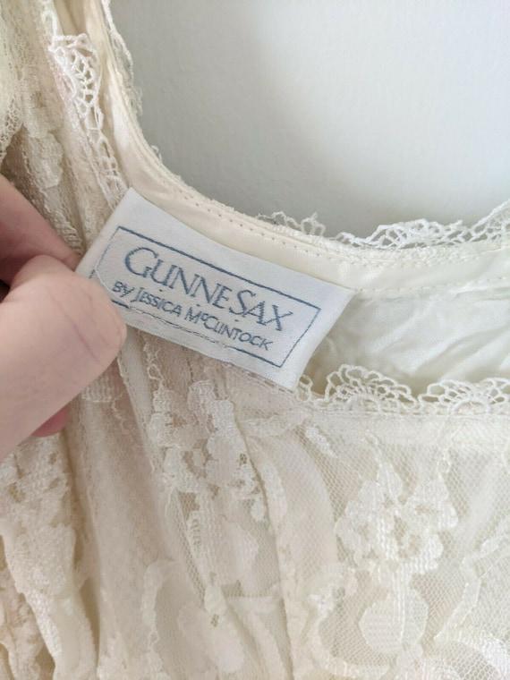 Vintage Gunne Sax white lace dress cottagecore - image 3
