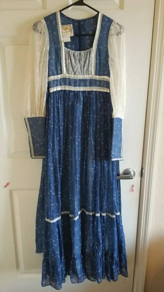 Vintage Gunne Sax blue prairie dress size 5 cottag