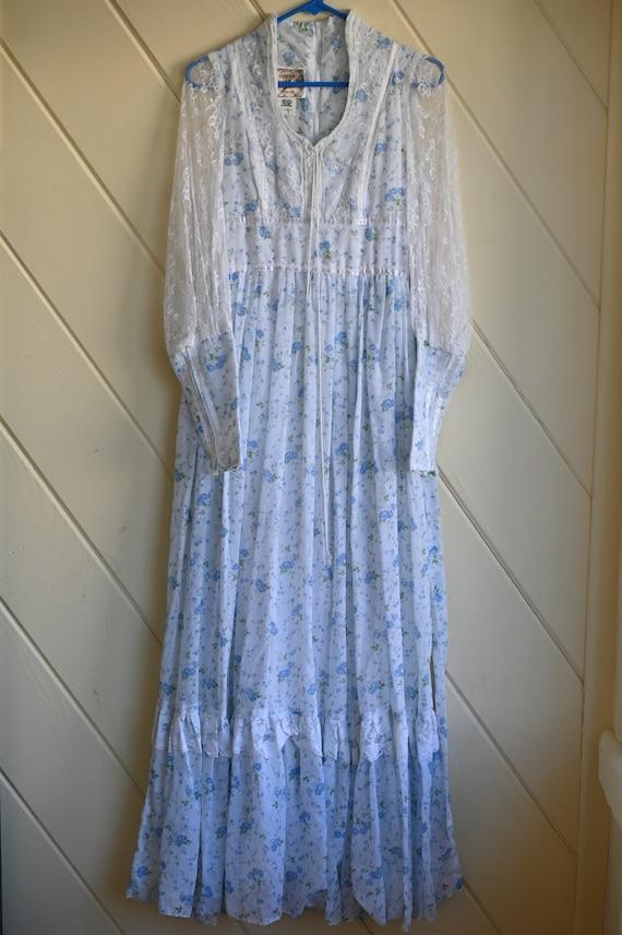 Vintage Gunne Sax blue prairie dress size 9 cotta… - image 2