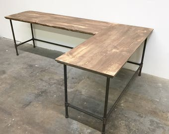 "Wayne Corner L-Shaped Desk 96"" x 60"" Solid Wood Modern Rustic Farmhouse Industrial Desk"