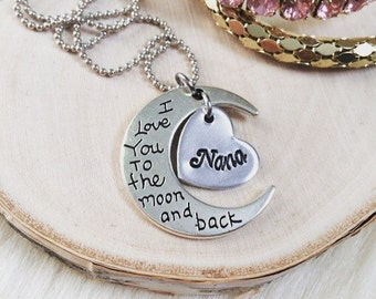 Custom Title, Name I Love You to the Moon & Back Necklace Personalized Name Half Moon Pendant - Gifts for Her