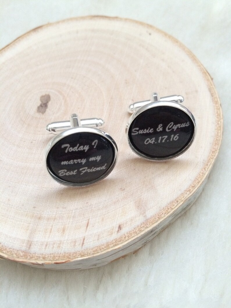 Today I Marry My Best Friend Cufflinks Set in Silver Platinum Color Tray with Black Background with Custom Names and Wedding Date