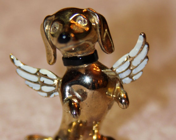 Adorable Sterling Figural Angel Dog with wings Daschund