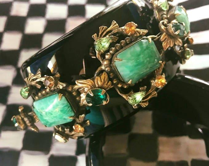 Featured listing image: Diamonds and Rust Original Design Peking Glass Vintage Bracelet