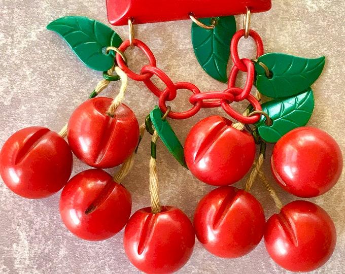 Featured listing image: Big Vintage Bakelite Juicy Cherry Dangle Brooch