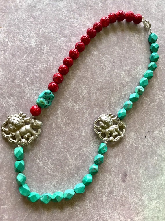 Carved Red Coral, Turquoise, Faux Turquoise Antique Chinese sterling pendant figural station necklace