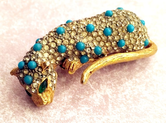 Vintage KJL  Kenneth Jay Lane Gold Pave and Turquoise Spotted Panther or Leopard Fur Clip Pin