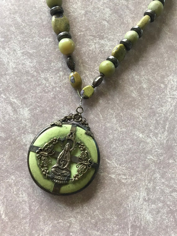 Tibetan sterling pendant or medallion figural Green bead necklace