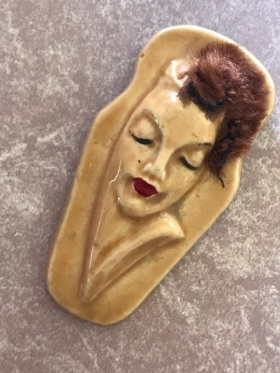 "Elzac California Pottery Victim of Fashion Ceramic and Lucite Pin Brooch Lapel ""Pin Up"""