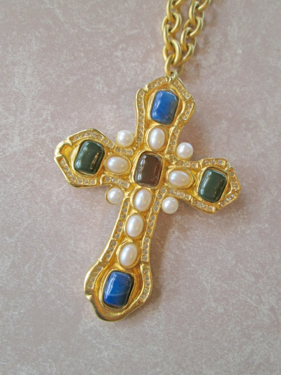 Chanel Inspired Ivana Faux Gripoix Cross Convertible Brooch - Necklace with 36 inch Chain