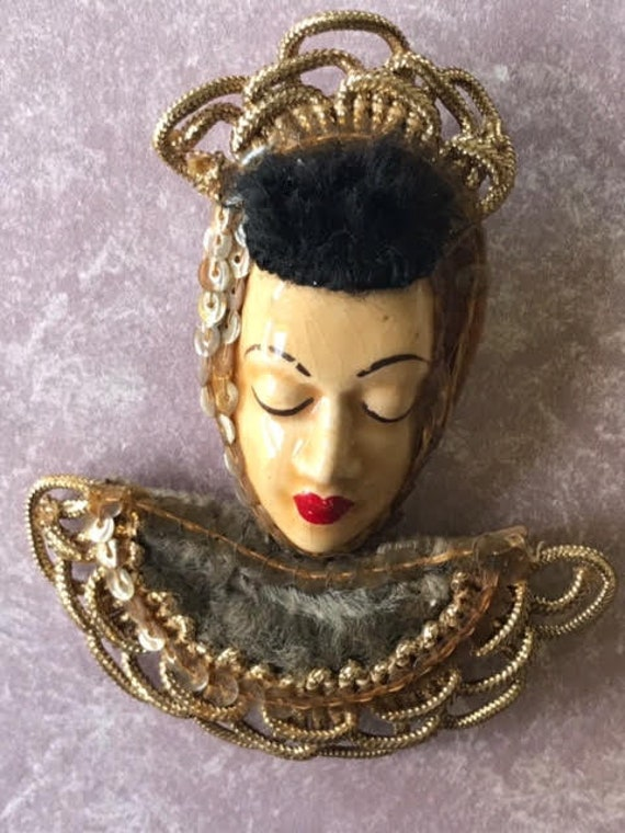 "Elzac Victim of Fashion Ceramic and Lucite Pin Brooch Lapel ""Pin Up"""