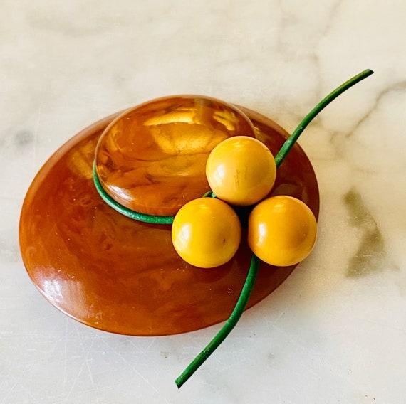 Vintage Bakelite  Lovely Ladies Hat Brooch with fruit