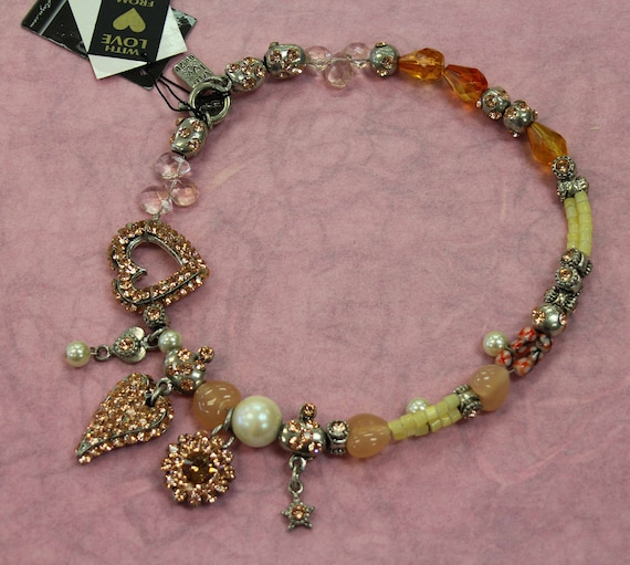 Otazu Peach Rhinestone Heart theme necklace