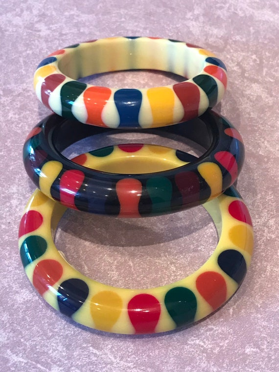 Bakelite Style Resin Bow Tie Bangles made by Bruce Pantti Limited Edition