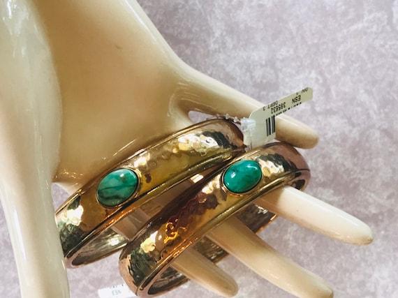 elements by NEST Hammered Bronze Feldspar Bangle Bracelet Set of 2