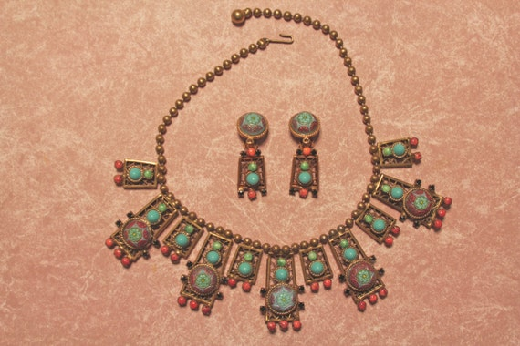 Juliana Egyptian Revival Turquoise Moroccan matrix Ball chain necklace, Rare style