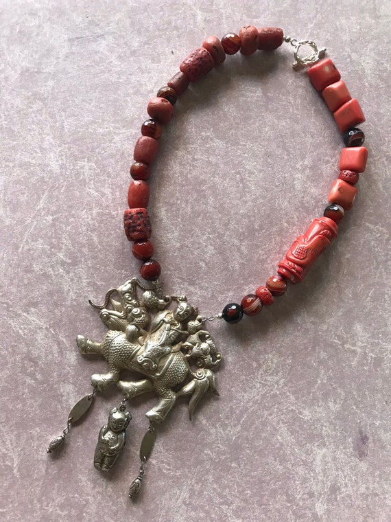 Carved Coral Antique Chinese sterling pendant or medallion figural bead necklace