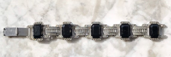 Gorgeous  Geometric Deco Unsigned Black Onyx Glass and Clear Rhinestone Bracelet
