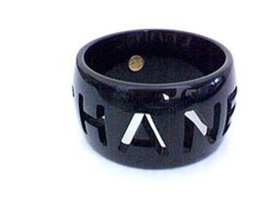 Big Black Vintage CHANEL  Bangle Bracelet  cut-out logo Designer Fashion