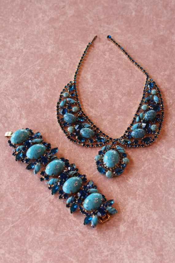Juliana D&E Delizza and Elster Drop Dead Gorgeous Necklace and Bracelet Blue Turquoise Matrix