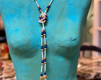 Vintage Valentino Lapis, Pearl and Gold Bead Lariat  Necklace