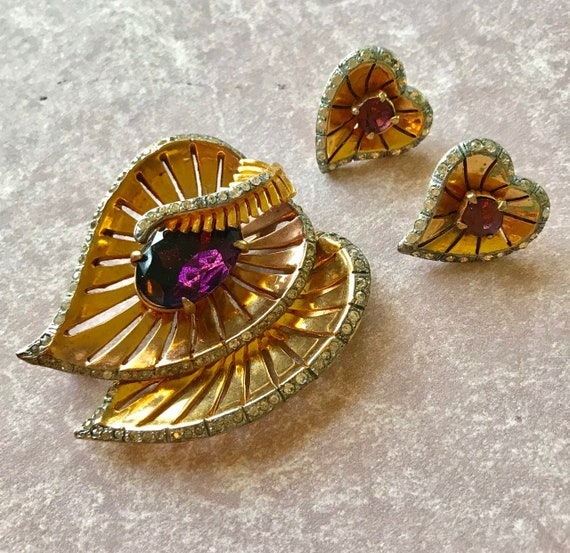 Fabulous unsigned Retro style Reinad Brooch and Earrings