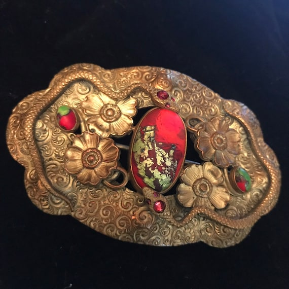 Neiger?  Czech Sash Brooch Snake with Flowers and Foiled Art Glass