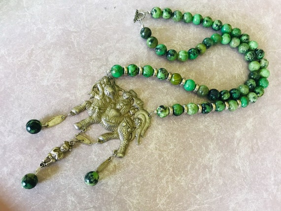 Antique Chinese sterling pendant or medallion figural Australian Jade bead necklace