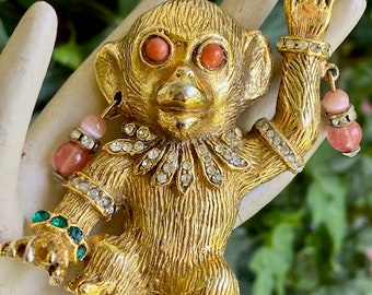 K.J.L. Kenneth Lane rare unsigned 1967 Gypsy Monkey Brooch