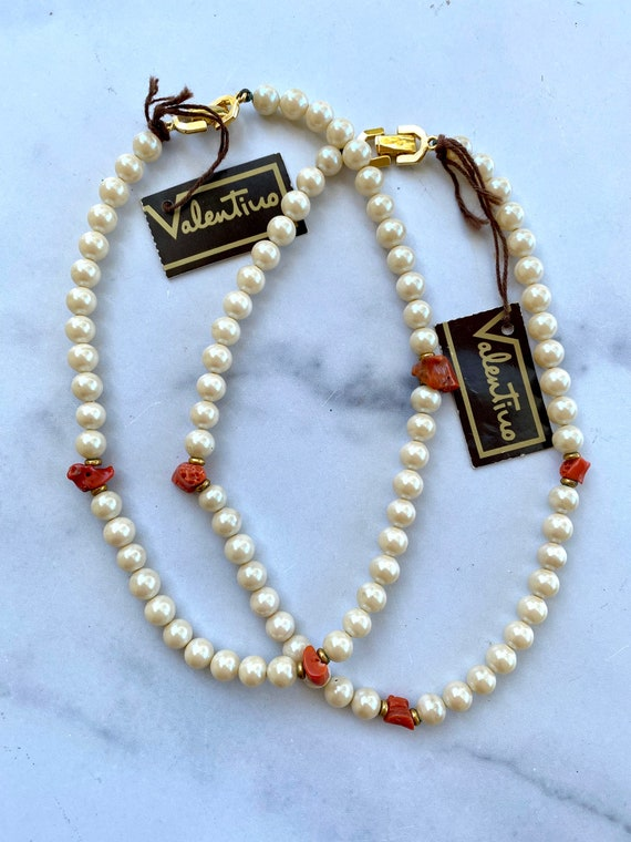 Vintage Valentino Red Coral and Faux Pearl Necklac