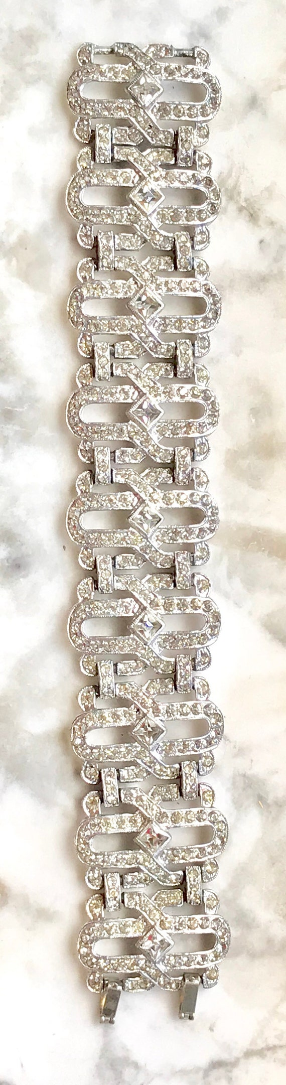 Gorgeous  Geometric Deco Unsigned Clear Sparkling 1920's Rhinestone Bracelet