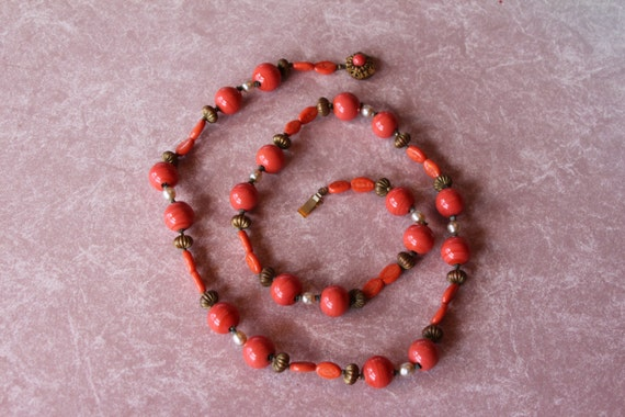 Miriam Haskell Coral and Pearl necklace, Long style 28 inches