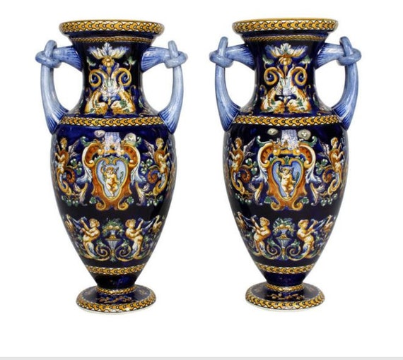 Pair of French Faience Italianate Style Vases by Gien