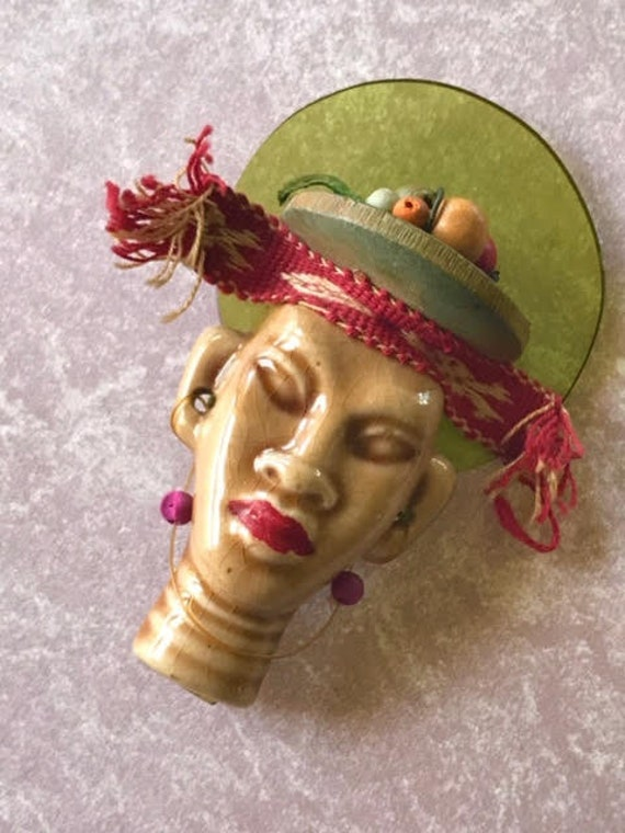 "Elzac Victim of Fashion Tribal Style Ceramic and Lucite Pin Brooch Lapel ""Pin Up"""