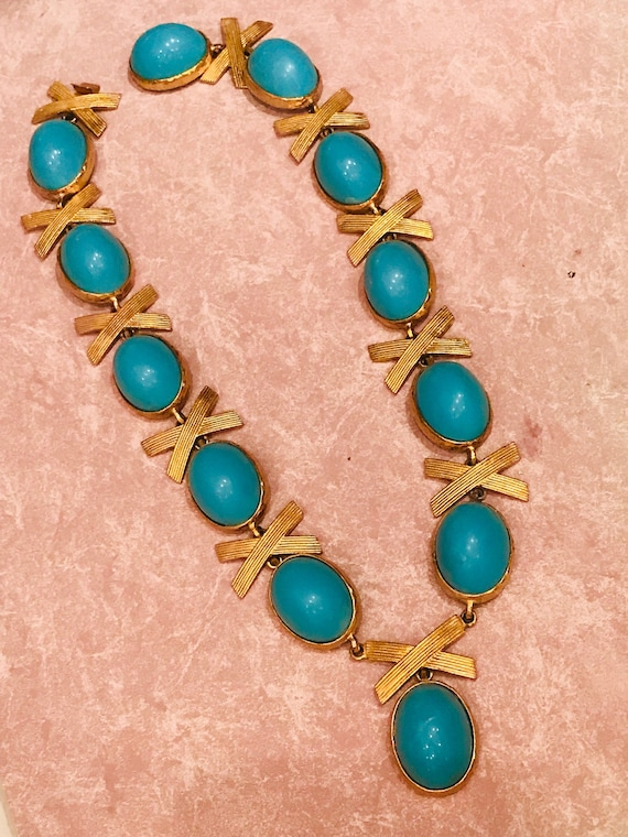 Alexis Kirk Statement turquoise high dome cabochon necklace