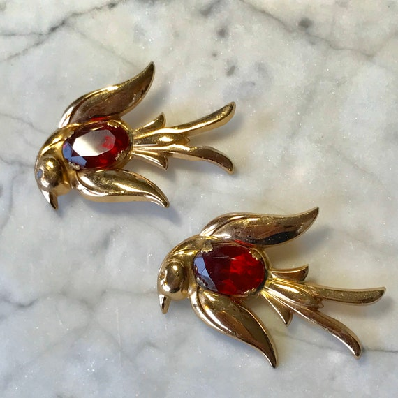 Coro Pegasus Signed Pair Gold Birds with Ruby Red center belly