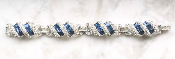 Fabulous Unsigned Boucher Sapphire Pave' Articulated Rhinestone Bracelet