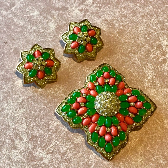 Vintage Signed JOMAZ  Joseph Mazer Brooch Earrings Set  Faux Jade and Coral with Rhinestones