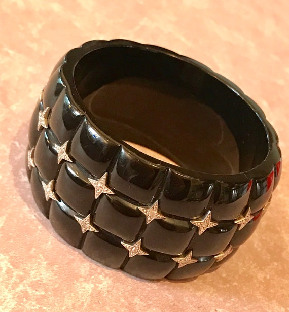 Mirim Salat Sterling and Cubic Zirconia Bangle, Bakelite Style