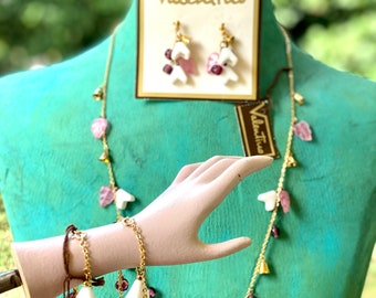 Vintage Valentino Iconic V Glass Flower and Bell Charm  Necklace, bracelet, and Earring Set