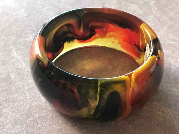 Huge Acrylic Bakelite Style Artisan Resin Bangle Bracelet PANTTI, One of a kind, Hand Made