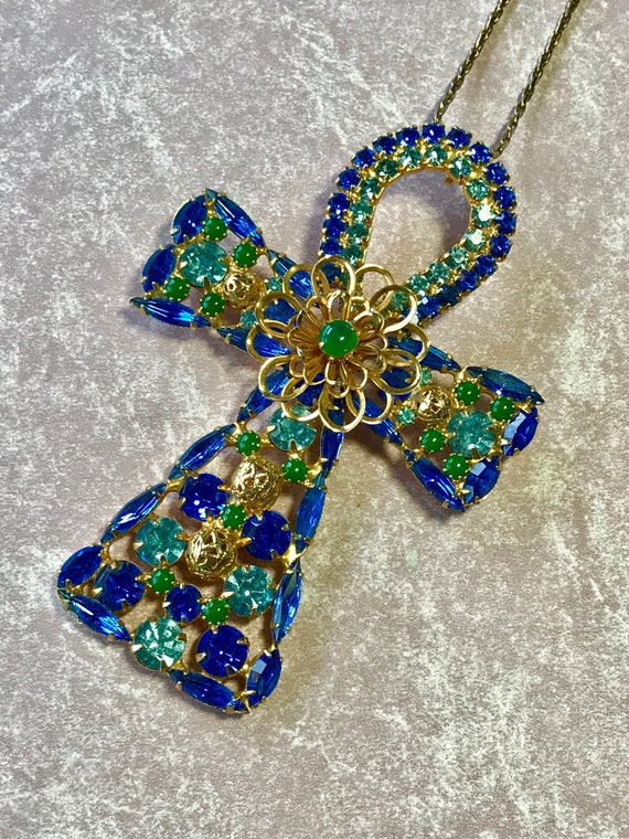 Alexis Kirk Ankh Cross Convertible Necklace or Brooch by Delizza and Elster of Juliana Fame