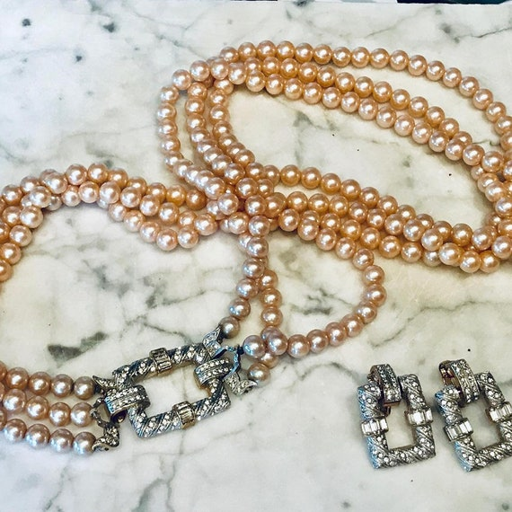 Amazing Vintage Diamante and Pearl Necklace and Earrings Fine Jewelry Look