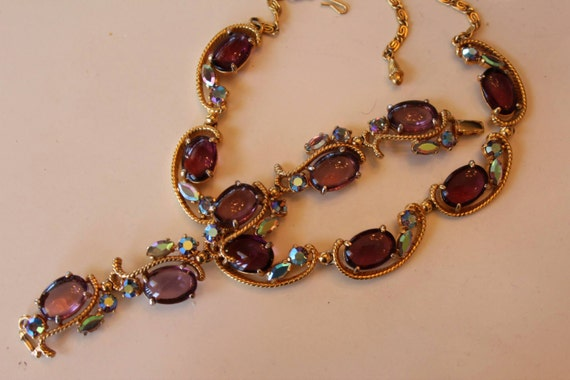 Signed Schiaparelli Necklace and Bracelet 1950's