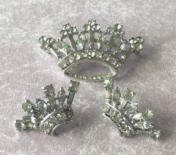 Trifari Sterling 'Alfred Philippe' Diamante Royal Crown Brooch and matching Clip Earrings